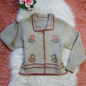 Vintage Cottagecore Button Pastel Floral Cardigan
